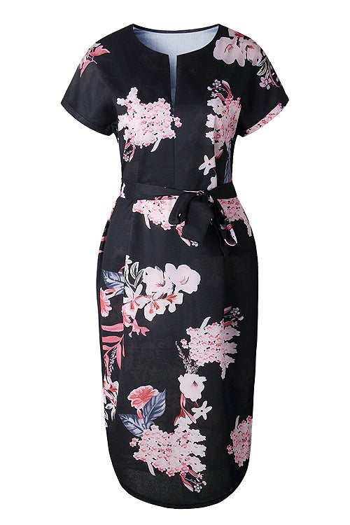 Split-neck Floral Print Midi Dress - 3 Colors