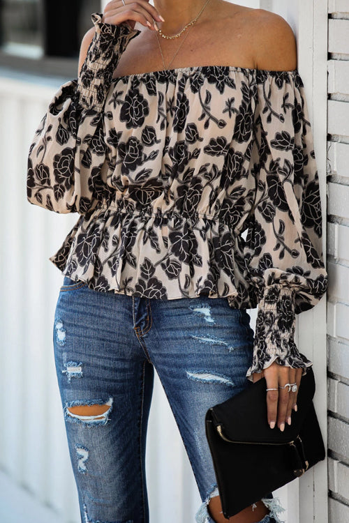 Cool Vibes Printed Off the Shoulder Top