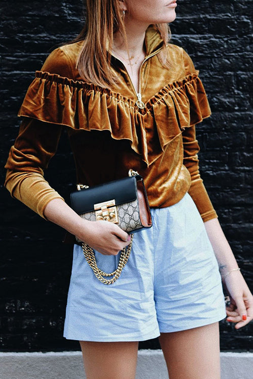 Velvet Ruffle Shoulder Zip Blouse
