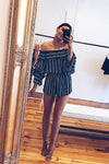 Stripe Off the Shoulder Ruffle Romper