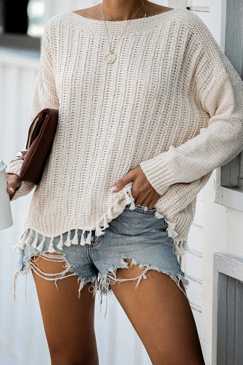 Feel It Still Tassel Knit Sweater - 2 Colors
