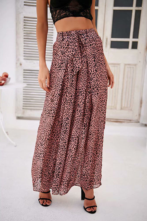 On the Road Pink Leopard Print Wide-Leg Pants