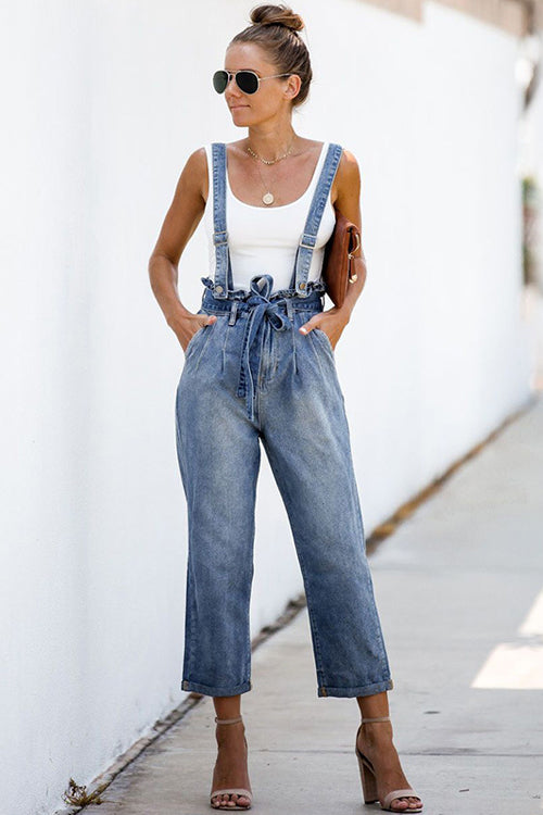 Downtown Girl Blue Wash Denim Overalls