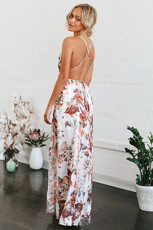 Backless Maple Leaf Print Dress
