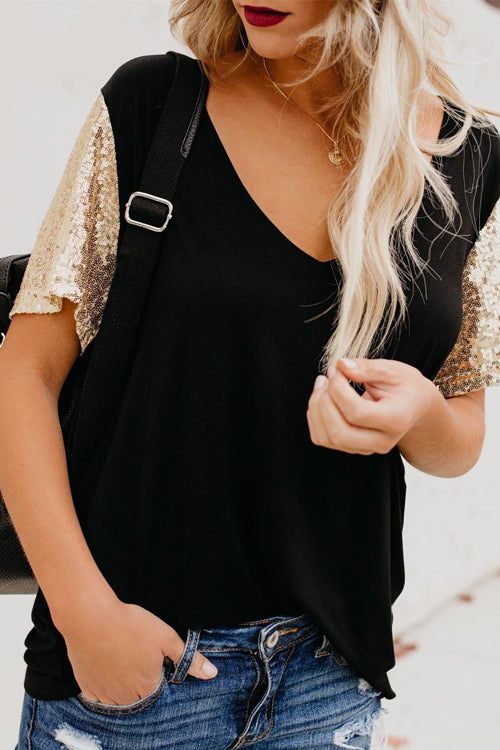 Tee for You Sequin Sleeve V-neck Tee - 3 Colors