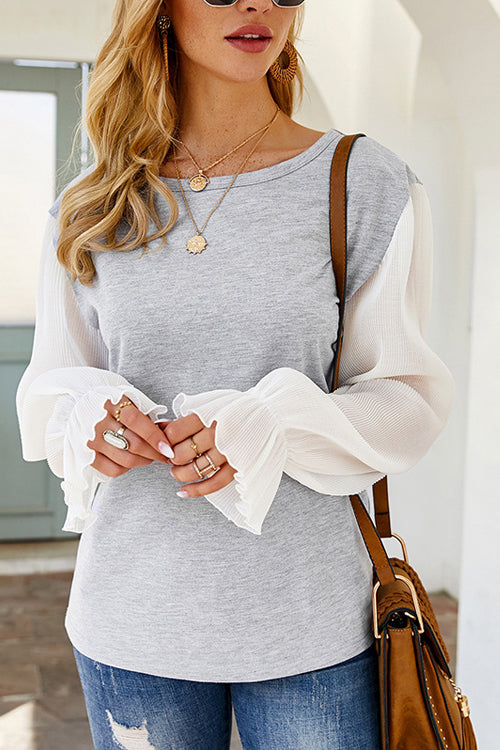 Crystal Grid Pleated Long Sleeve Top
