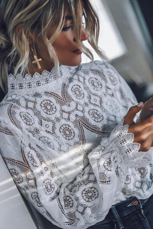 Perfect Petals White Lace See-Through Top