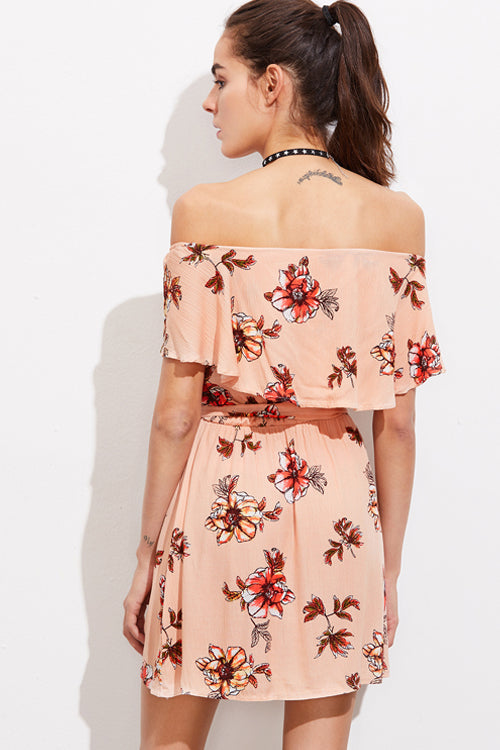 Ruffle Shoulder Print Dress