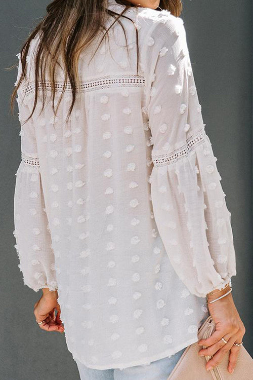 Breezy Beauty Dotted Long Sleeve Top