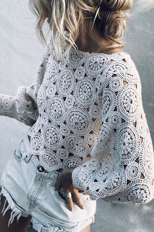 Pure Genius Hollow-Out Lace Embroidered Top