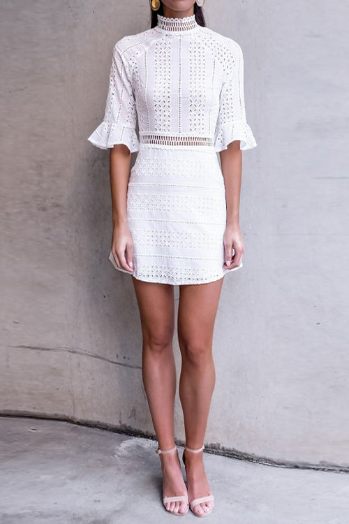High-neck Lace Mini Dress