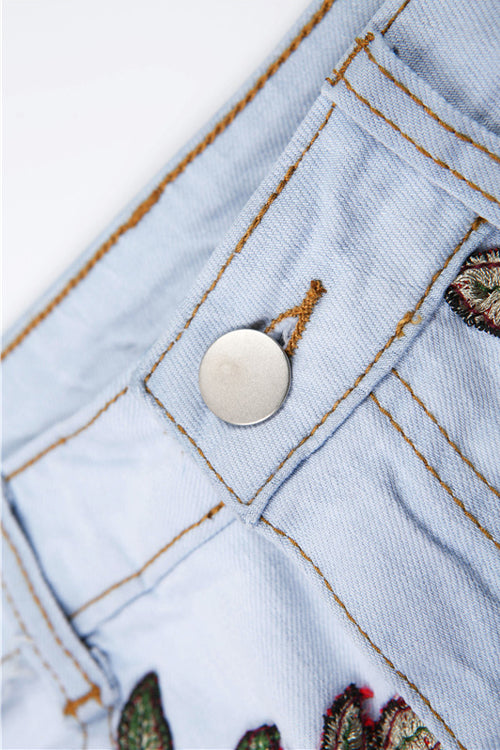 Floral Embroidered Hollow-out Denim Shorts
