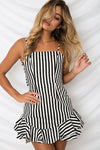 Bowknot Daisy-Stripe-Print Mini Dress - 3 Colors
