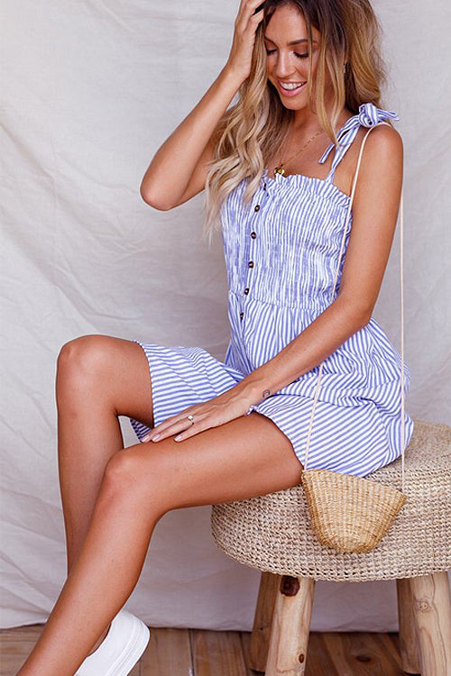 Blue Stripe Pleated Button Mini Dress