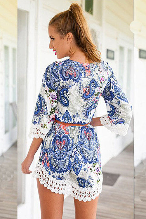 V-neck Lace Print Dress