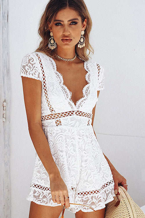 Lace Cording V-neck Romper - 2 Colors