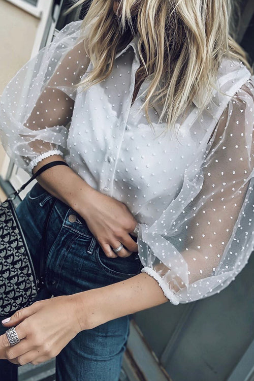 Love is Enough Puff Sleeve Dot Chiffon Shirt