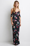 Backless Floral Print Maxi Dress
