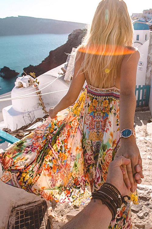 Spaghetti Boho Beach Maxi Dress