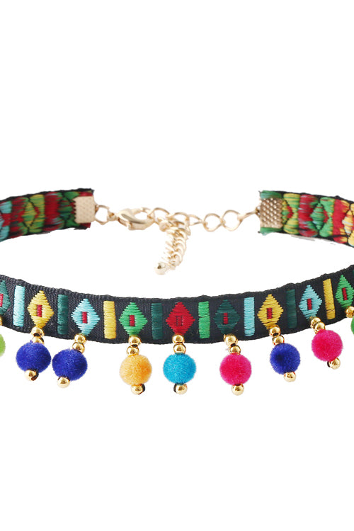 Ethnic Fluffy Ball Choker