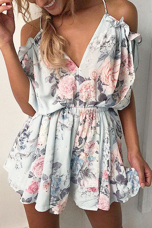 Cold Shoulder Ruffle Print Romper