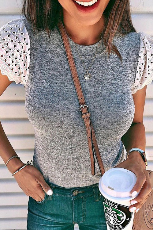 Downtown Angel Lace Short Sleeve Top