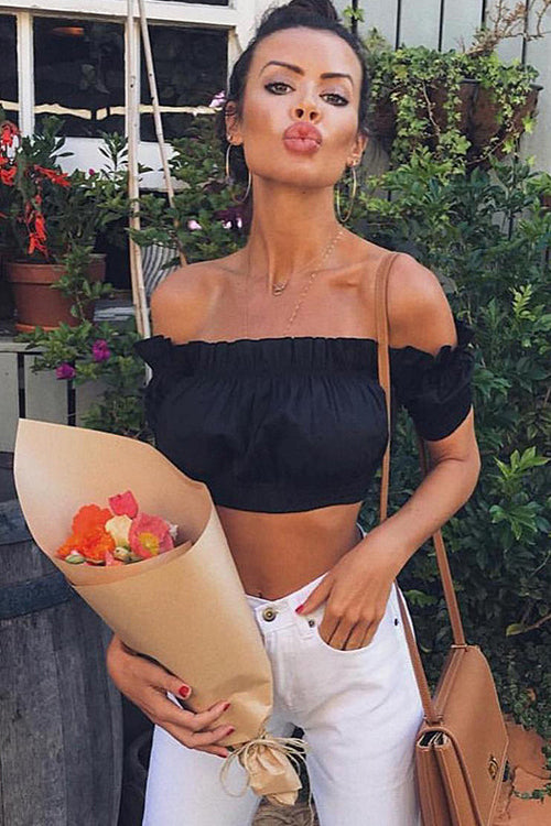 Ruffle Shoulder Pure Crop Top