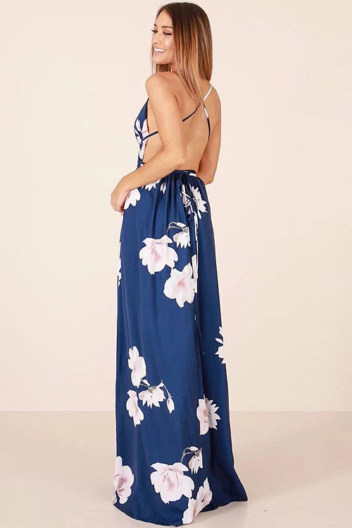Cross-back Navy Blue Print Maxi Dress