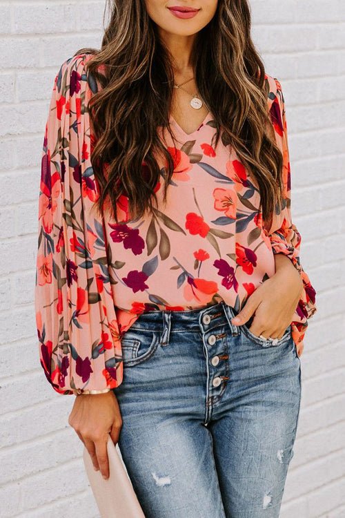 Peach Blossom Printed Pleated Long Sleeve Top