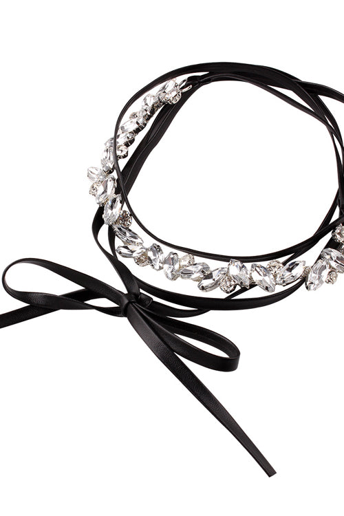 Crystal Leather Punk Choker