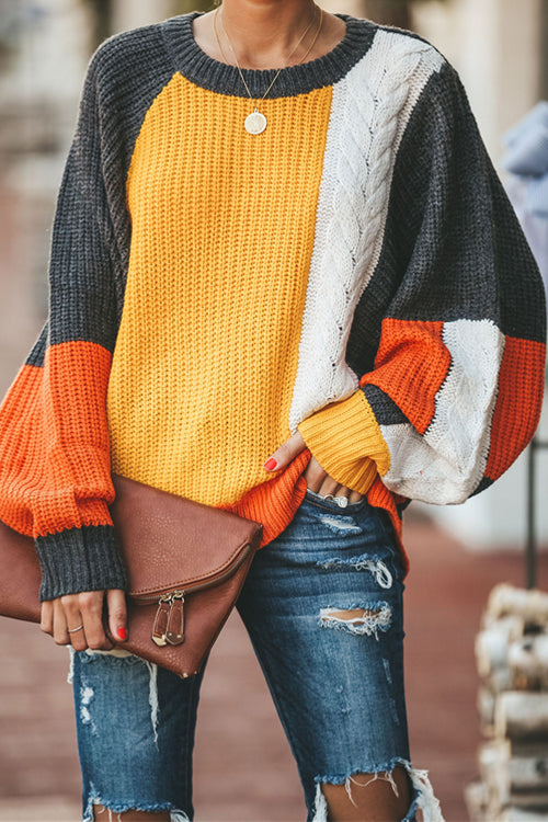 Slow Motion OL Long Sleeve Knit Sweater