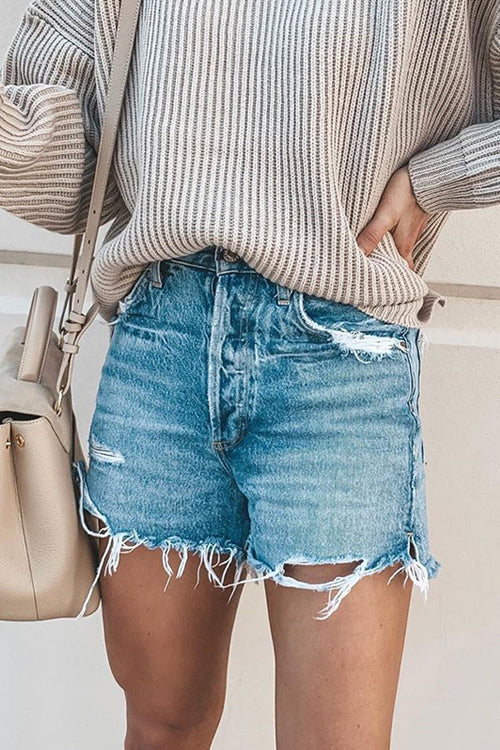 Troublemaker Blue Wash Denim Shorts