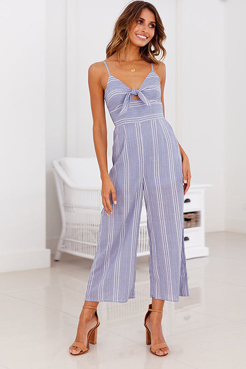 Moment for Life Tie-front Stripe Jumpsuit - 2 Colors
