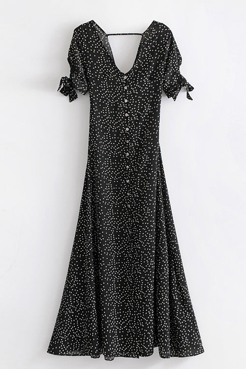 Galaxy Dot Bowknot-back Maxi Dress
