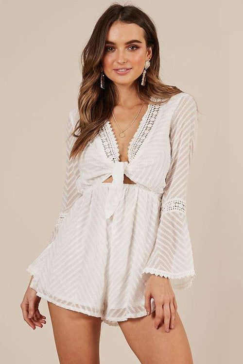 Lost in Love Tie-front Bell Sleeve Romper - 2 Colors