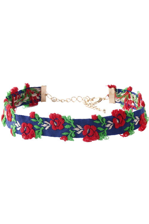 Floral Embroidered Ethnic Choker