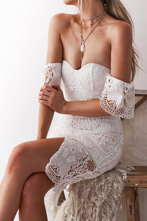 Lace Strapless High-slit Dress