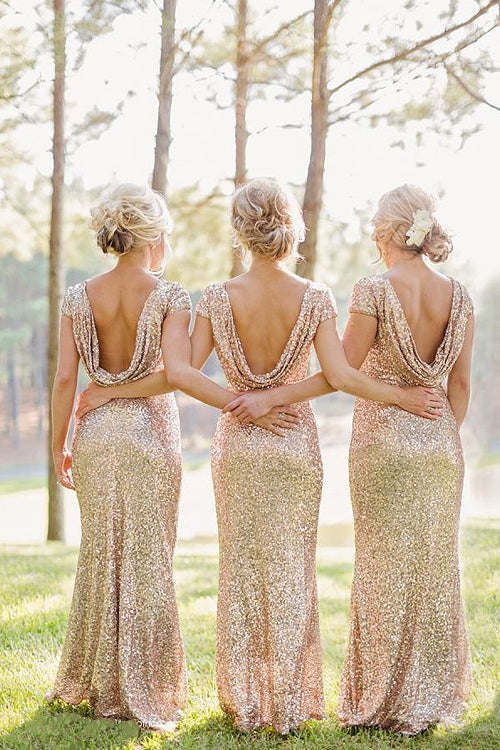 Gold Sequin Backless Bridesmaid Dress