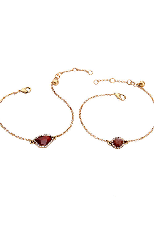 Wine Red Pendant Bracelet