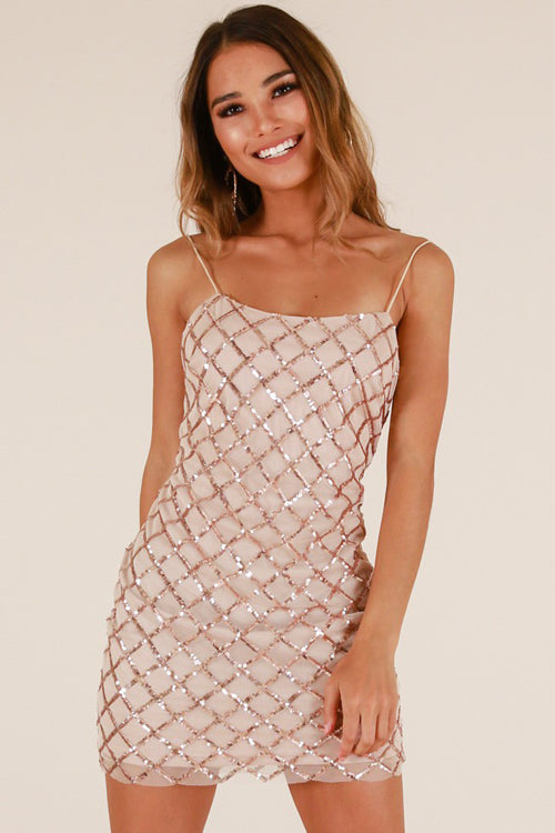 Sequin Cell Spaghetti Party Dress