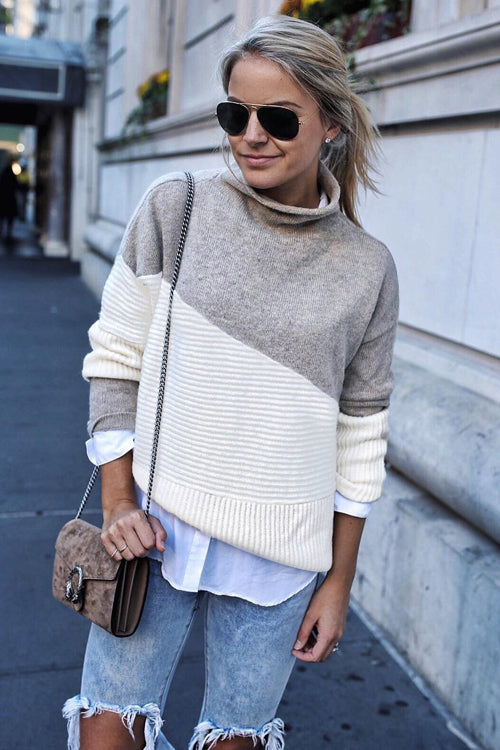 Graceful Ways High-Neck Pure Color Knit Top