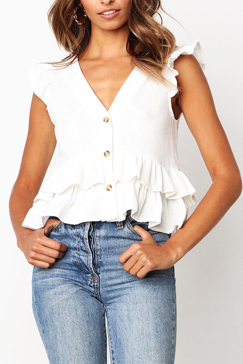 Sweet Songbird V-neck Layered Ruffle Top - 3 Colors