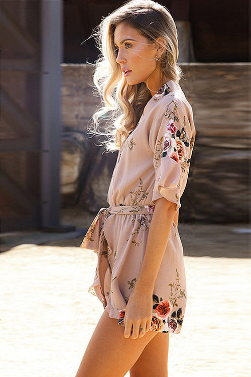 Summer Print V-neck Tied Romper - 3 Colors