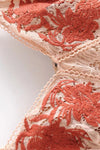 Pink-orange Lace Embroidered Mini Dress