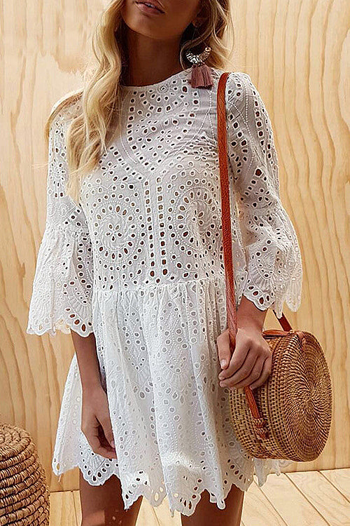 Lovers' Game Lace Hollow-Out Mini Dress - 3 Colors