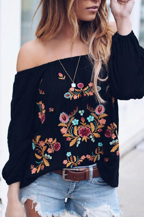 She's Got Style Floral Embroidery Top - 2 Colors