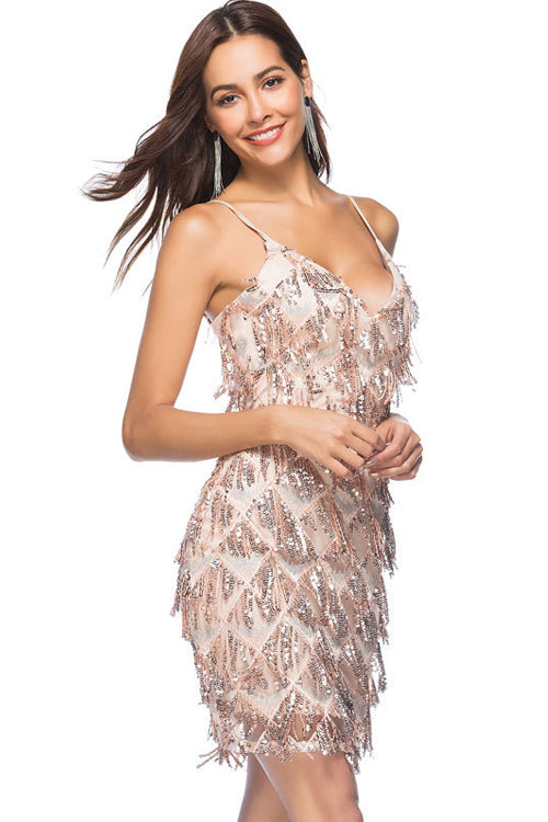Sequin Spangly Tassel Mini Dress - 2 Colors