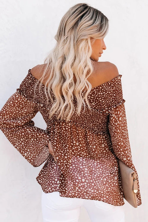 Wildly Cool Dotted Pleated Long Sleeve Top