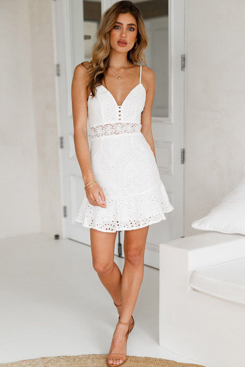 Lace Hollow-out Mini Dress