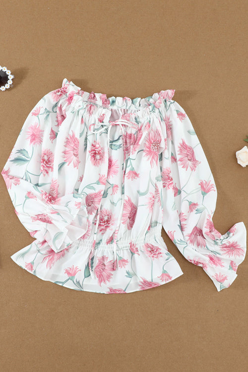Blossoming Style Off Shoulder Printed Top